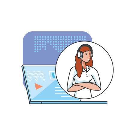 cute young woman with earphones with laptop vector illustration design Иллюстрация