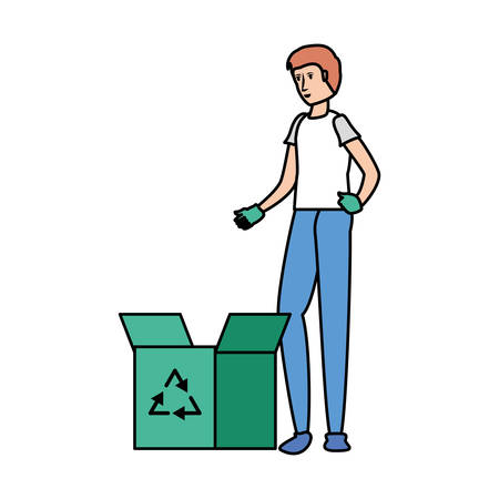 Avatar man and recycle box design, Ecology eco save green natural environment protection and care theme Vector illustration Illustration