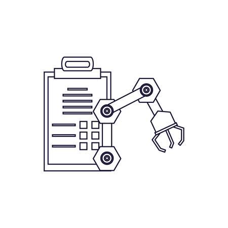robotic hand industrial with checklist vector illustration design