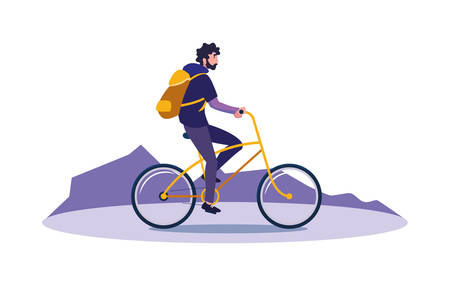 traveler man with bag riding bicycle vector illustration Vector Illustration
