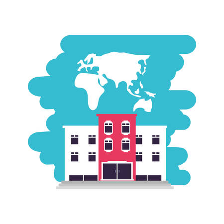 hotel building place with map of continent vector illustration design