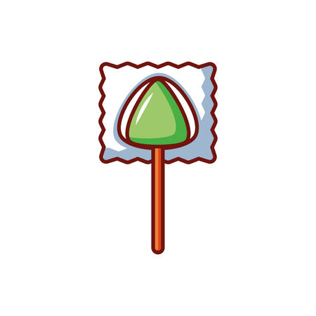 lollipop with halloween decoration on white background vector illustration design