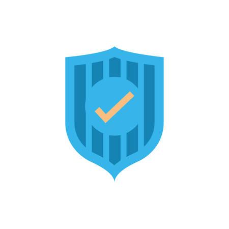Check mark inside shield design of Security system warning protection danger web alert and safe theme Vector illustration  イラスト・ベクター素材