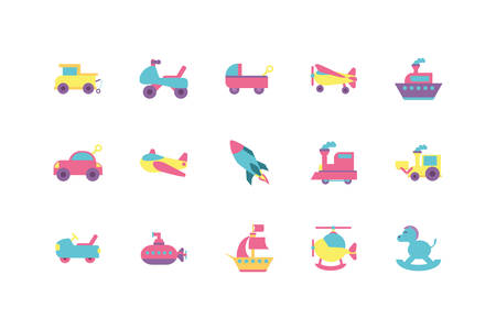 toys icon set design of Childhood play fun kid game gift object little and present theme Vector illustration Illustration