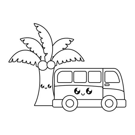 van vehicle with palm tropical kawaii vector illustration design Illustration