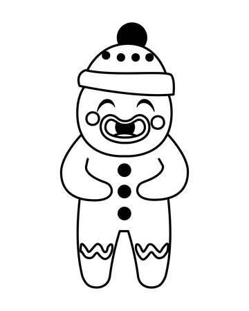 gingerbread man with hat in white background vector illustration design