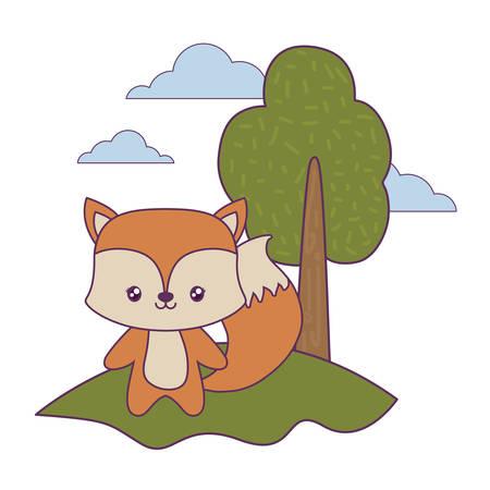 cute fox animal in landscape vector illustration design