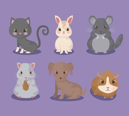 Groupe de mignons bébés animaux vector illustration design Vecteurs