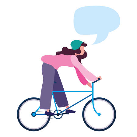 Mujer habla burbuja imagen de actividad de bicicleta de montar en la ilustración de vector de fondo blanco