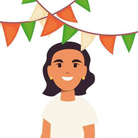 young woman portrait party celebration pennants on white background vector illustration