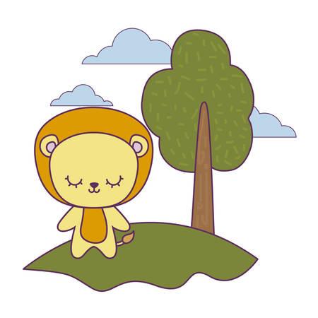 cute lion animal in landscape natural vector illustration design