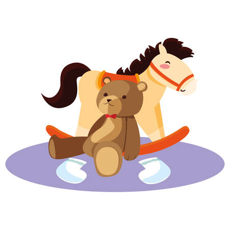 baby toy rocking horse and bear vector illustration
