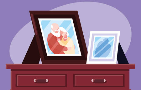 photo of cute old couple hugged vector illustration design