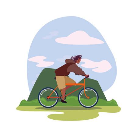 man riding bicycle activity mountainous landscape vector illustration