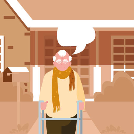 happy grandparents day - grandfather front house talk bubble vector illustration Stock Illustratie