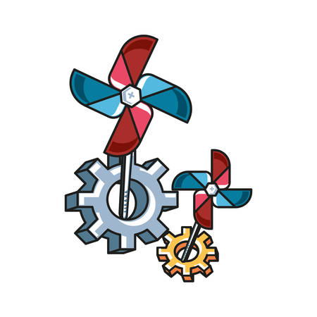 fan windmill toy with gears pinions vector illustration design