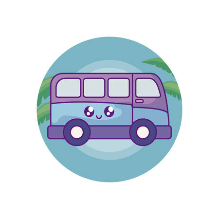 van vehicle in frame circular with leafs tropical vector illustration design