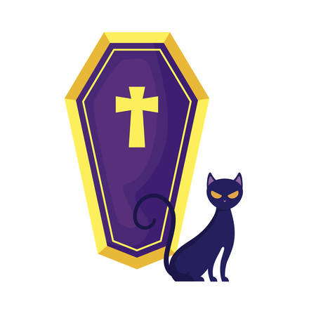 cat feline animal of halloween with coffin vector illustration design
