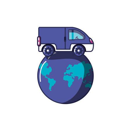 van vehicle transportation with planet earth vector illustration design