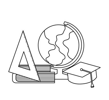 terrestrial globe with set supplies school vector illustration design