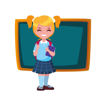 smiling school girl with chalkboard vector illustration