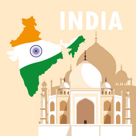 indian independence day poster with map flag and taj majal vector illustration design