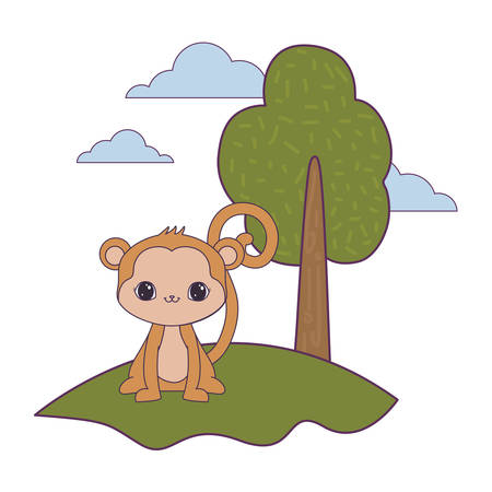 cute monkey animal in landscape vector illustration design
