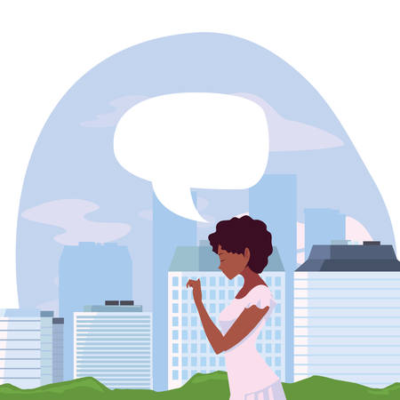 beautiful woman talk bubble in the city vector illustration