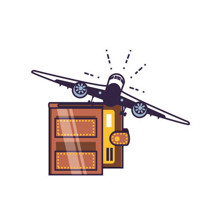 airplane flying with wallet money vector illustration design