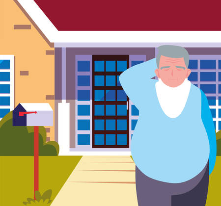 happy grandparents day - cute grandpa in front home