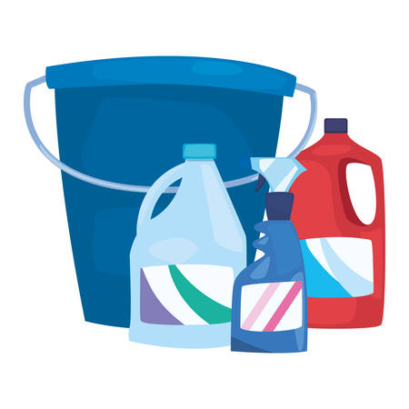 bucket disinfectant detergent cleaning products and supplies vector illustration Vektorové ilustrace