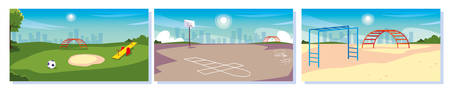 set of kids playgrounds with landscape of city vector illustration design
