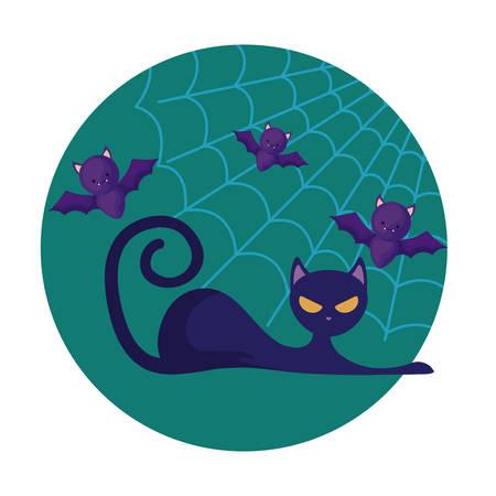 cat feline animal of halloween with bats, vector illustration Çizim