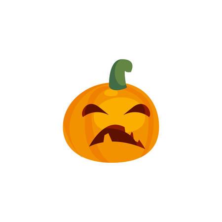 Halloween-Kürbis mit Angstgesicht auf weißem Hintergrundvektorillustrationsdesign Vektorgrafik
