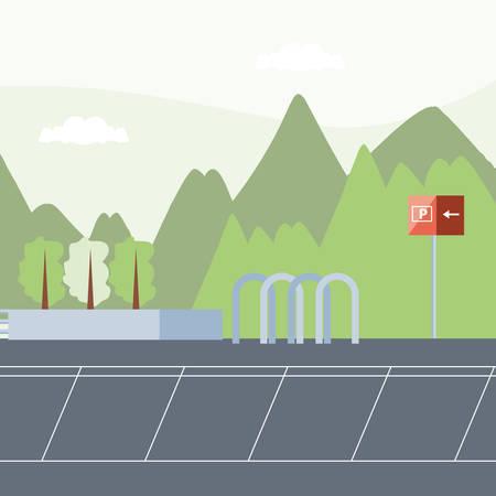 Diseño de ilustración de vector de icono de escena urbana de zona de estacionamiento