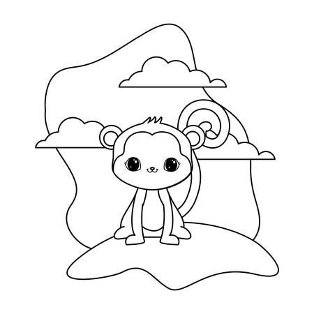 cute monkey animal in landscape natural vector illustration design