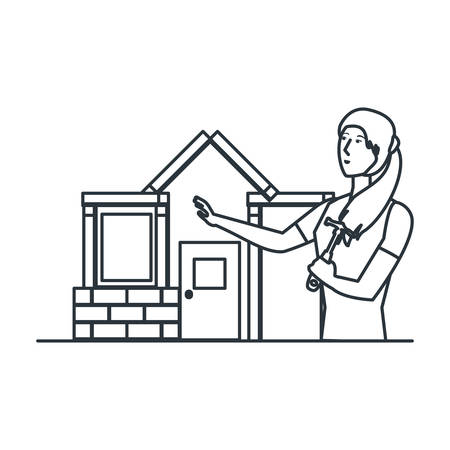 young woman using hammer repairing house vector illustration design