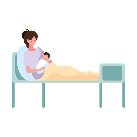 mother carriyng and baby in the bed - pregnancy and maternity vector illustration