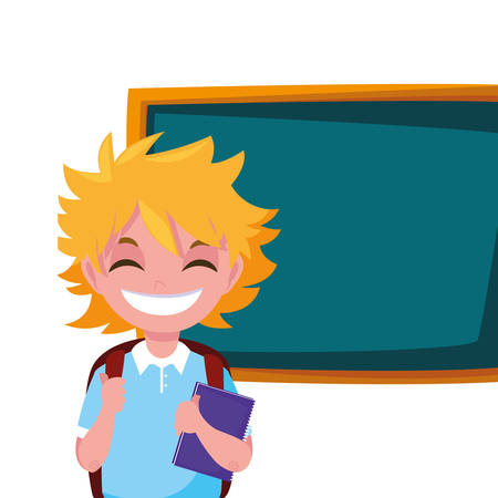 smiling school boy with chalkboard vector illustration Stock Illustratie