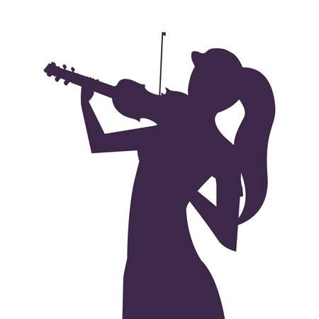 musician woman violin playing musical vector illustration