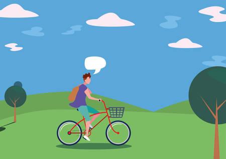 man talk bubble riding bicycle activity in the park vector illustration Ilustración de vector