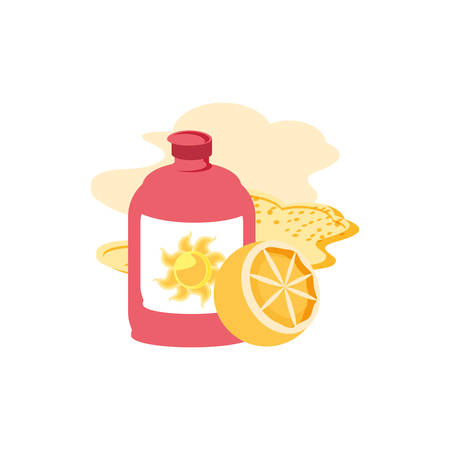 sun blocker bottle in the beach with orange vector illustration design