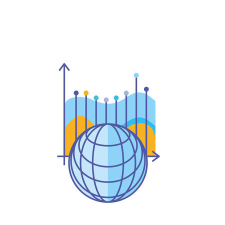 statistical graphics infographic with and browser sphere vector illustration design  イラスト・ベクター素材