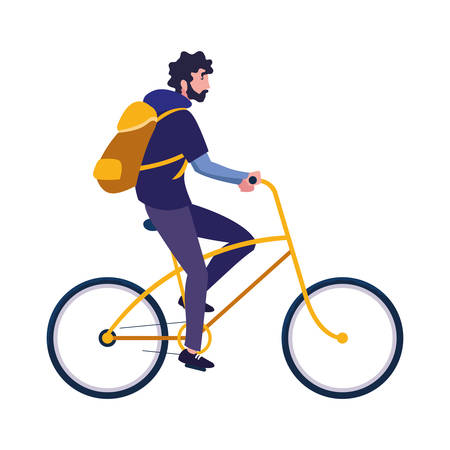traveler man with bag riding bicycle vector illustration