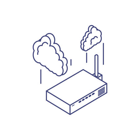 router communication technology with cloud computing vector illustration design 向量圖像