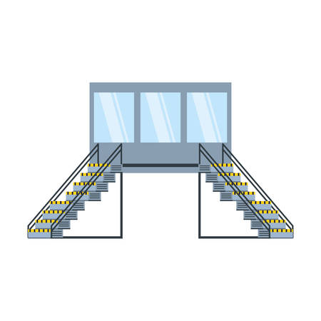 industrial factory stairs with office scene vector illustration design