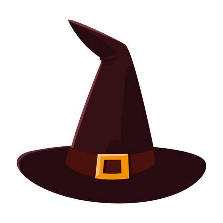 Chapeau de sorcière happy halloween célébration design vector illustration Vecteurs