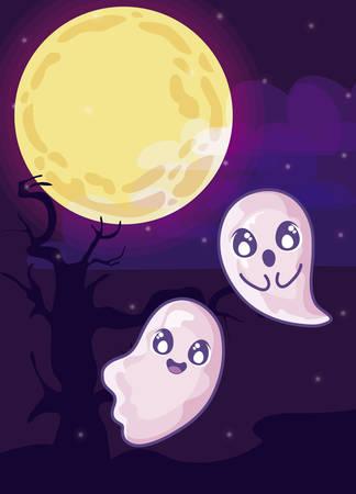 halloween ghost with moon in cemetery scene vector illustration design Ilustracja