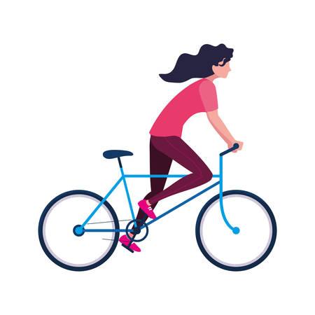 Mujer montando bicicleta imagen de actividad sobre fondo blanco ilustración vectorial