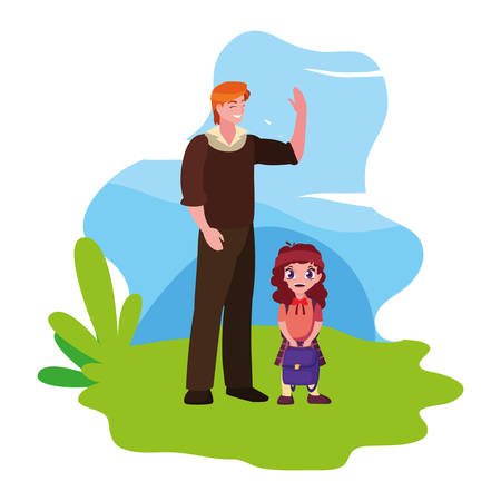 father with her school daughter outdoor vector illustration